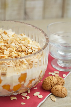Ameretti and Apricot Trifle